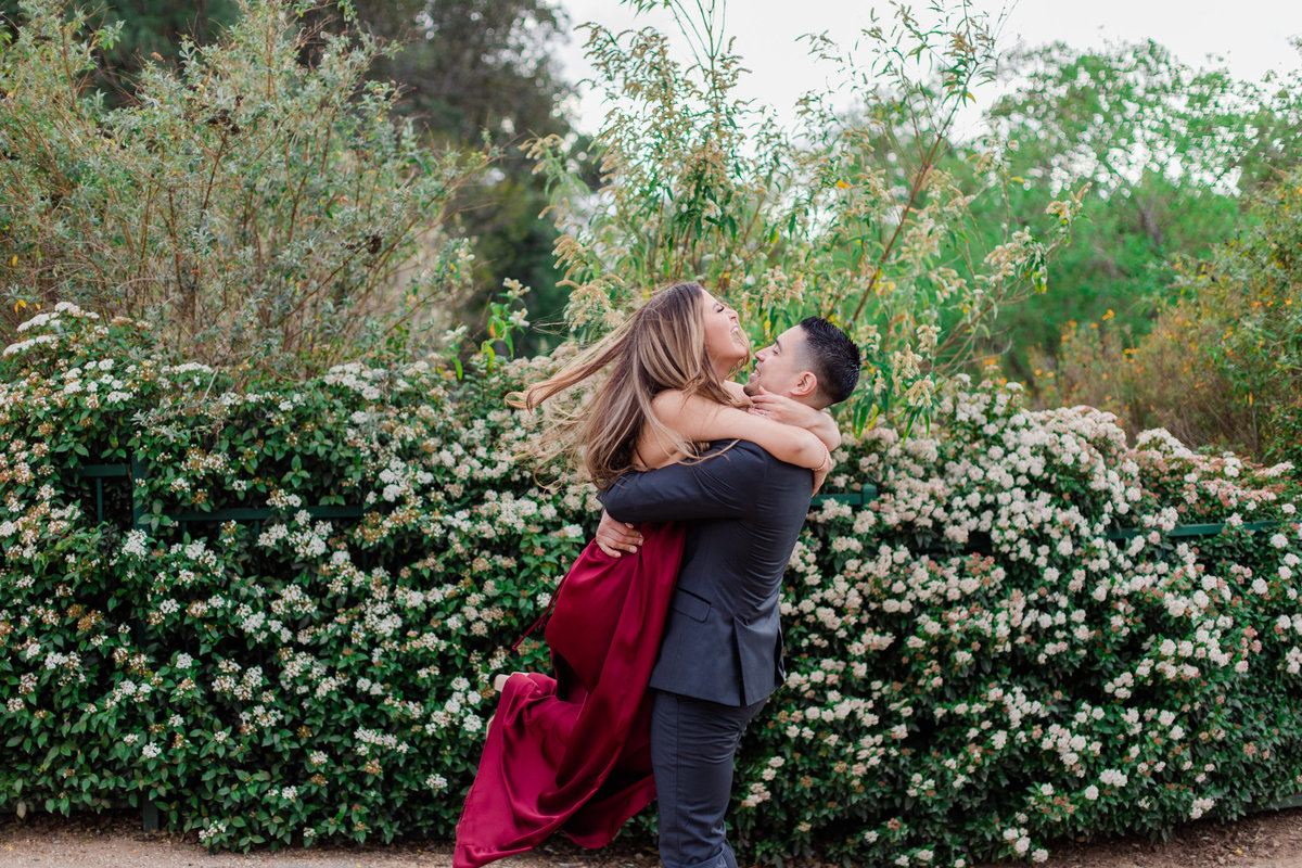 UC Riverside Botanical Gardens, Engagement Photography, Riverside Phototgrapher, Garden Engagement, Couple Photography, Red Dress-64