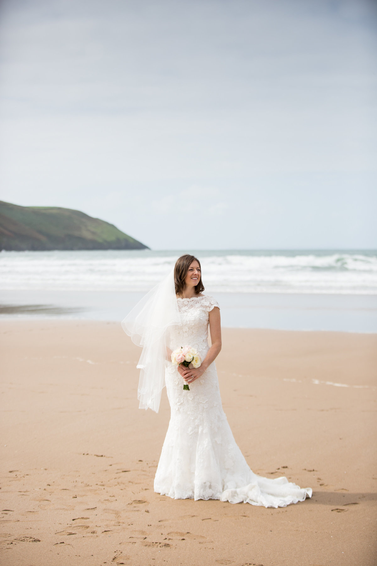 bride on beach colour photography reportage devon