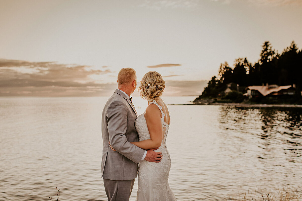 Couple during golden hour at their Roerts Creek wedding on the Sunshine Coast B.C