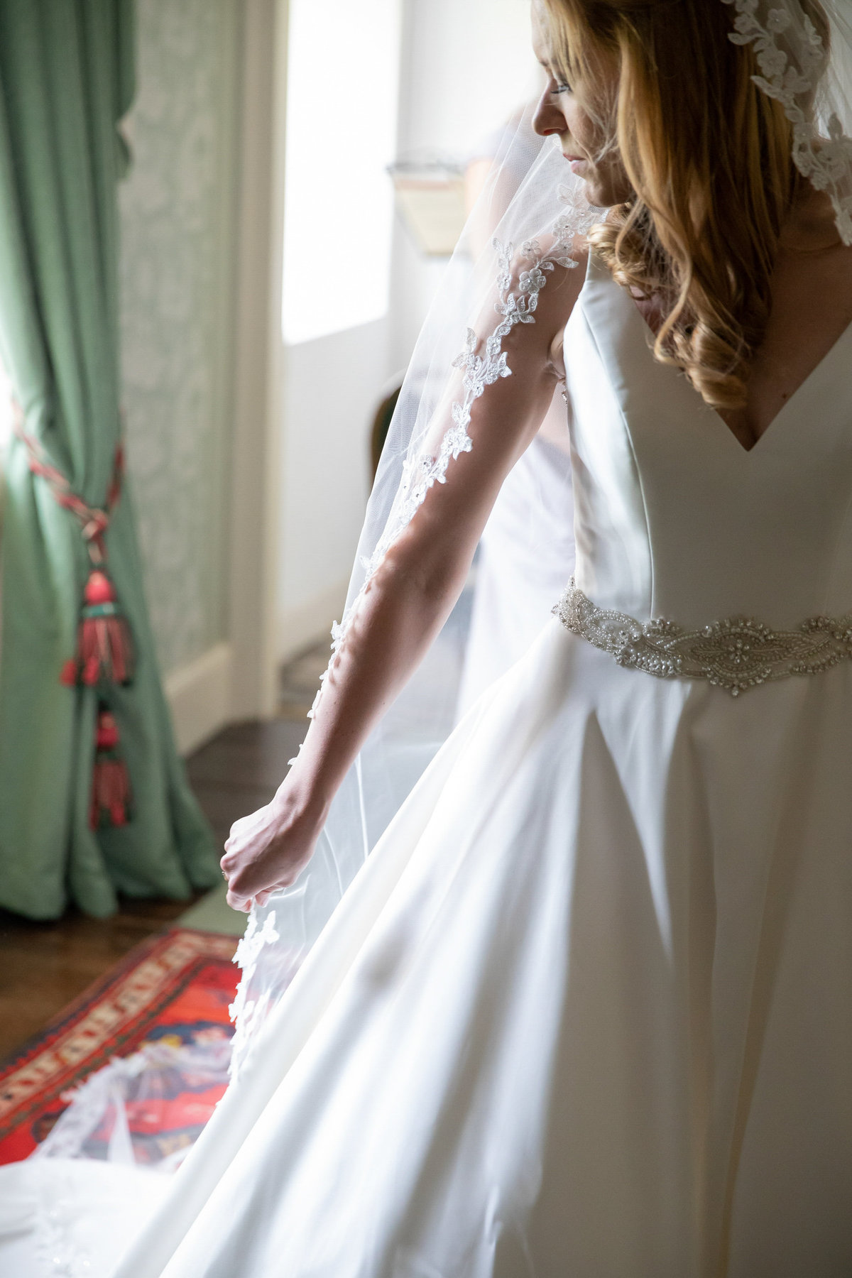 Bridal prep Forde House Wedding in Somerset_