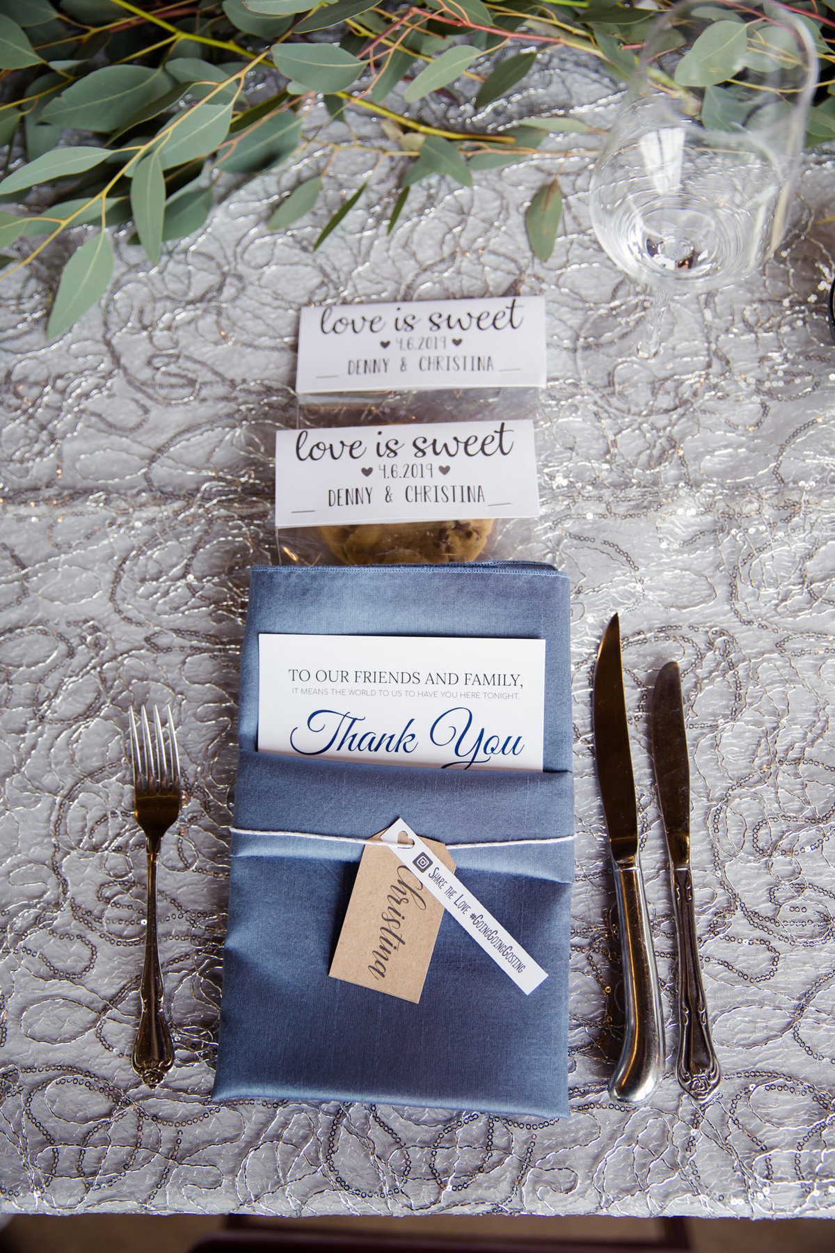 blue place settings at wedding