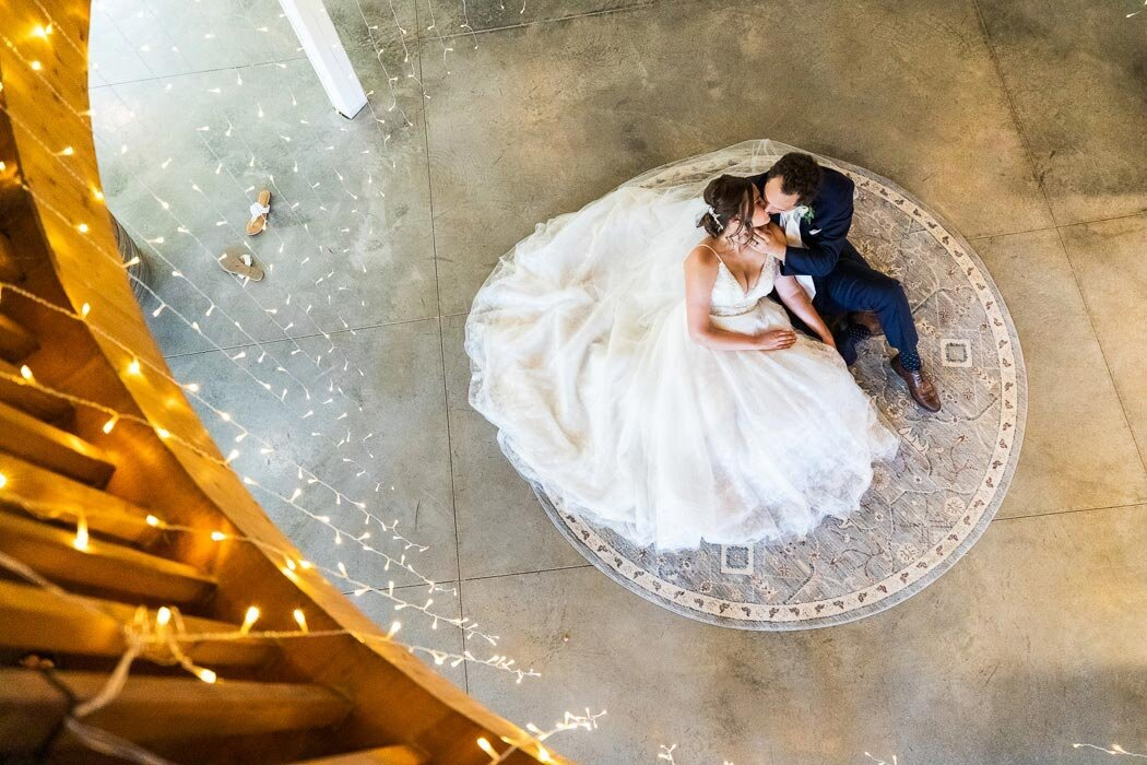 The coolest part of the farm is the open rotunda and these two took full advantage for their couple portraits.