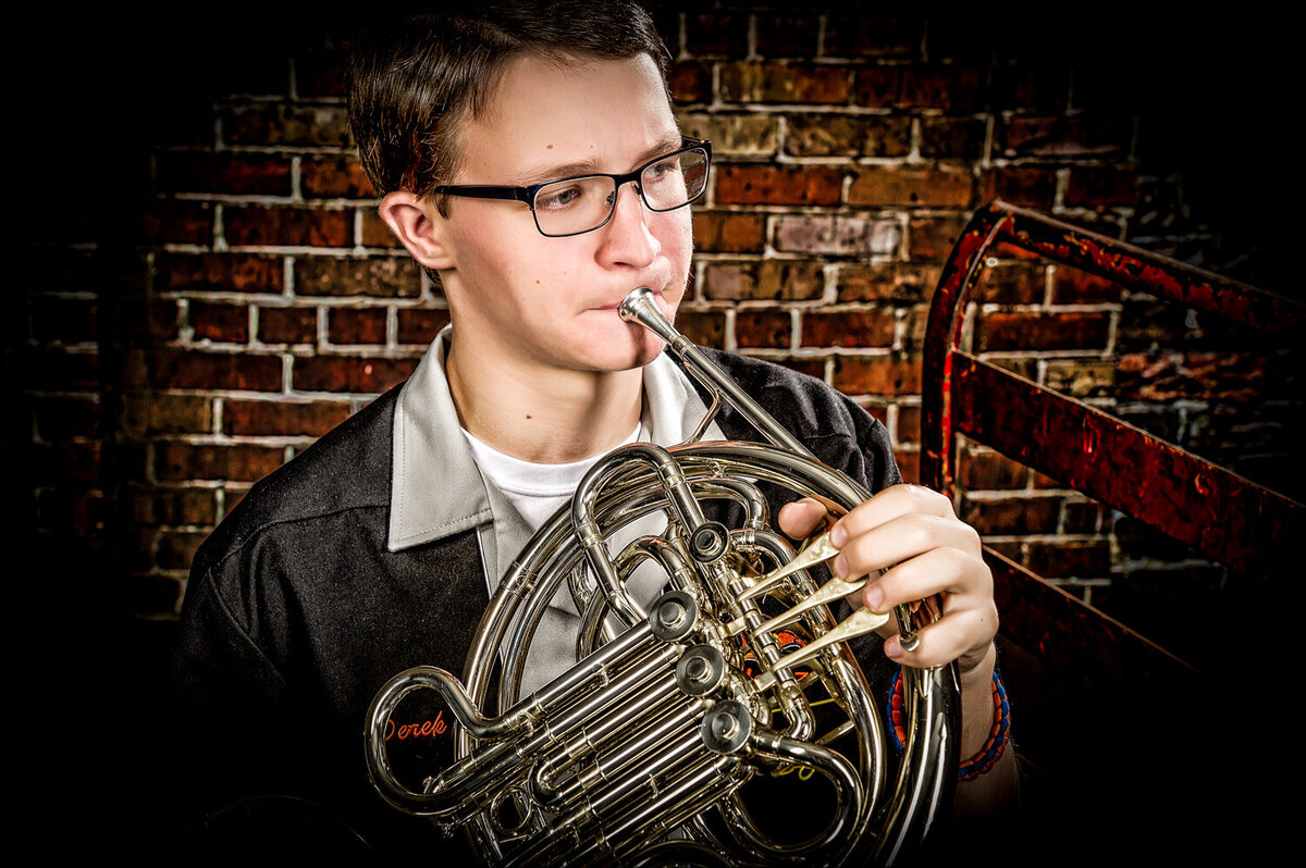 senior boy trumpet indoor studio