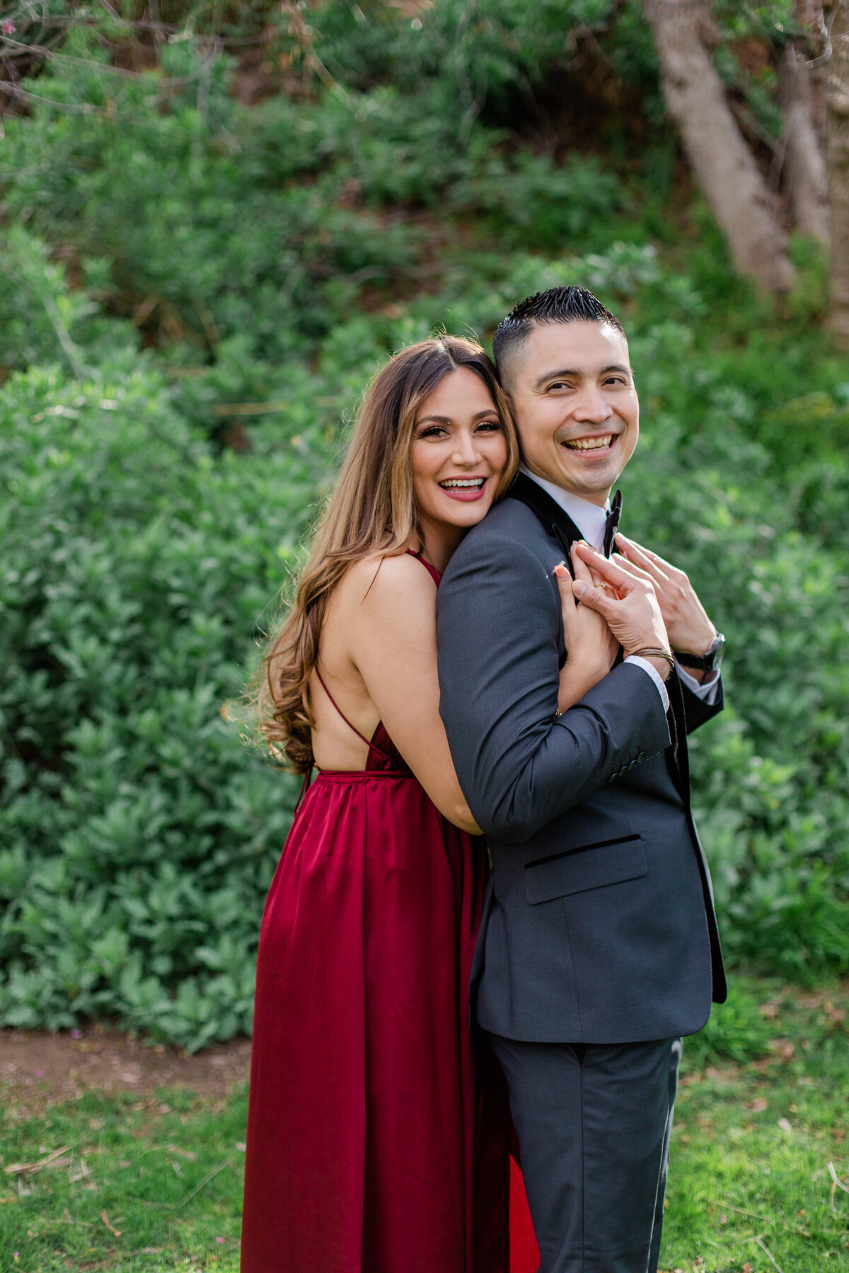 UC Riverside Botanical Gardens, Engagement Photography, Riverside Phototgrapher, Garden Engagement, Couple Photography, Red Dress-21