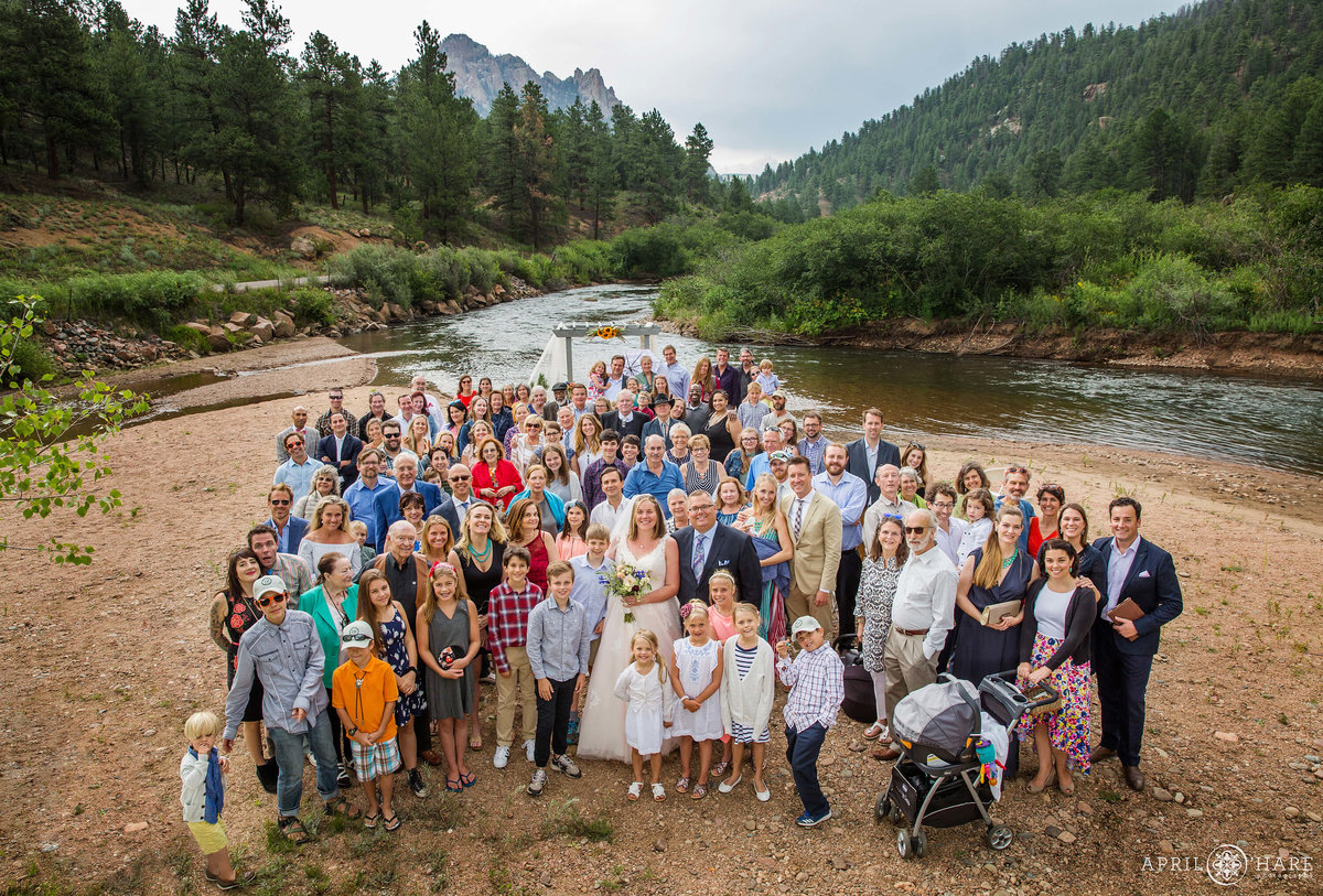 Huge Group Photo Riverside at a Colorado Mountain Wedding in Conifer