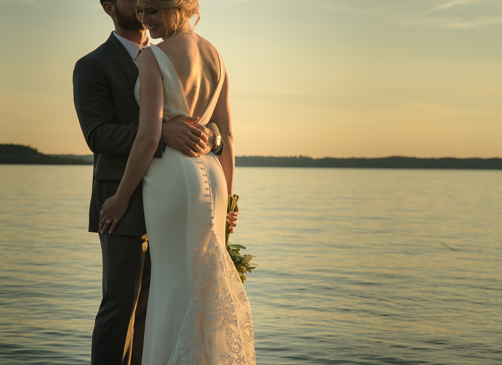 DESTINATION WEDDING IN TRAVERSE CITY WITH KRISTEN AND SCOTT Bridal Portrait at Sunset