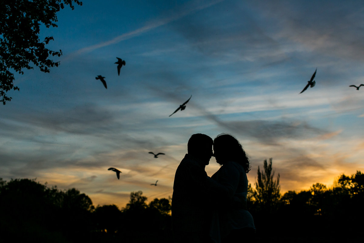 Silhouette sunset engagement photos in Patterson Park Baltimore
