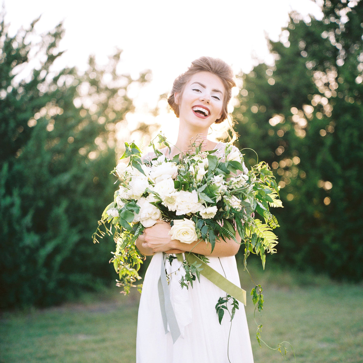laughing bride white and green organic bouquet