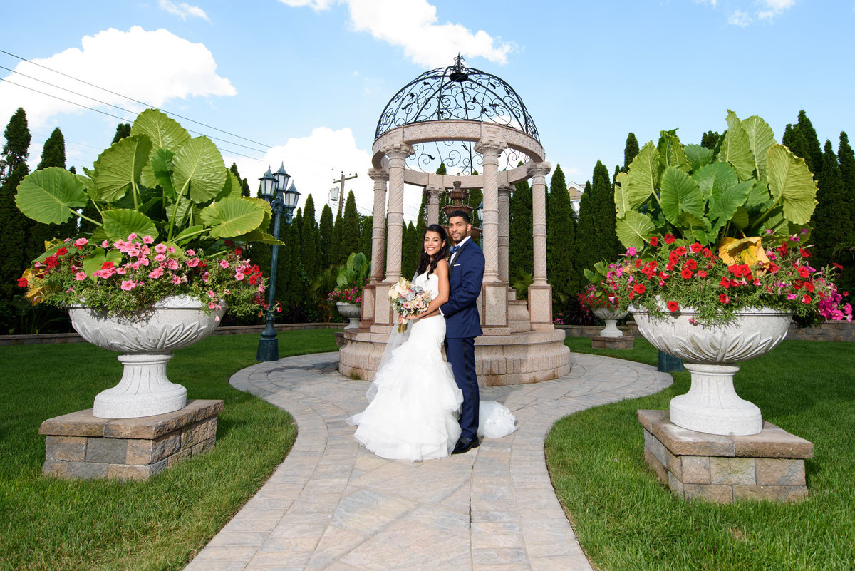 Bride and groom at the gazebo of The Sands