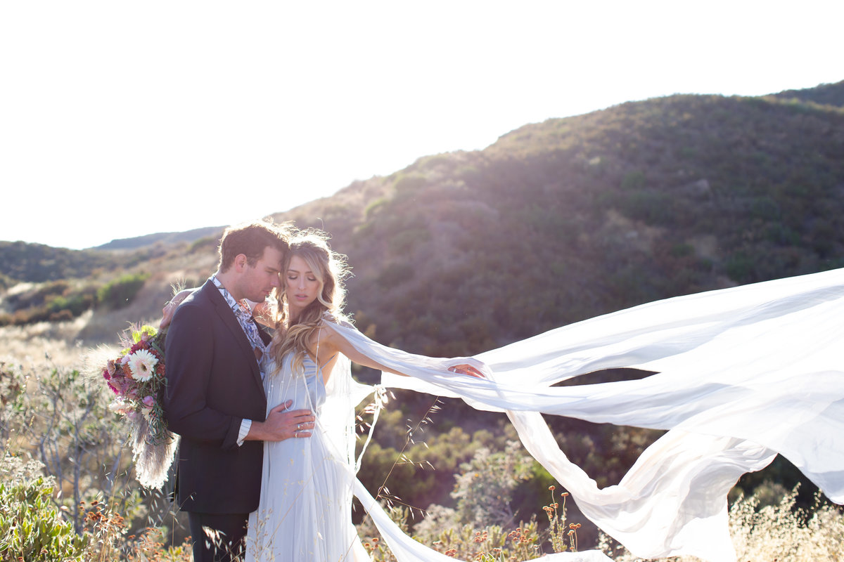 Romantic Summer Elopement  bride and groom photo in front of mountains  at Castiac Lake in California  by Amy Britton Photography Photographer in St. Louis