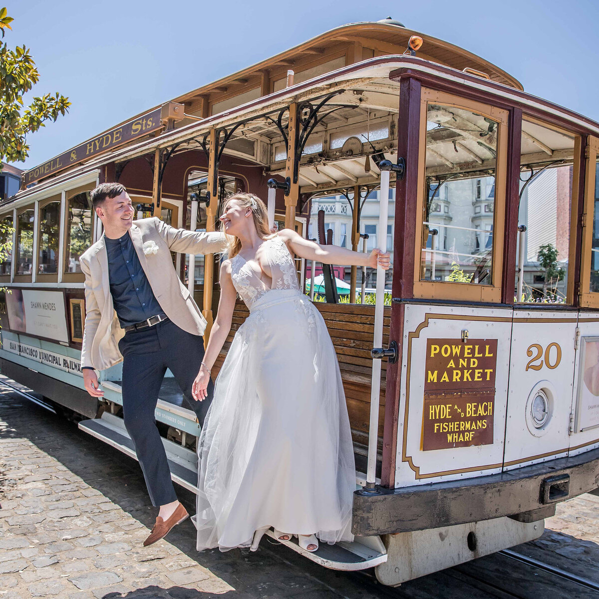 San Francisco Elopement Lifestyle photography at Ghirardelli Square Cable Car Turn Around by Nancy Ingersoll