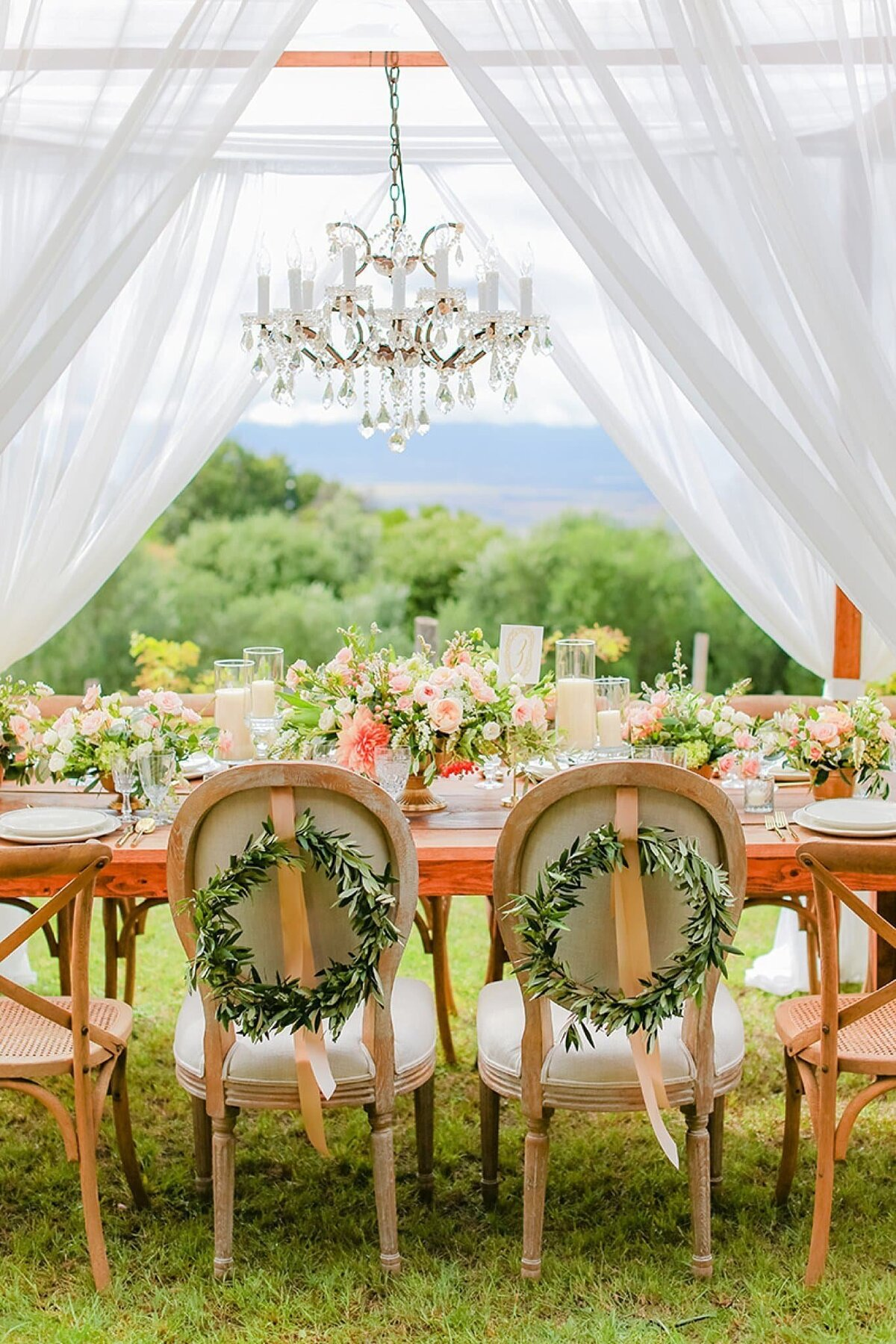 Elegant table arrangement at the Villa at Calasa Olive Farm in upcountry Maui