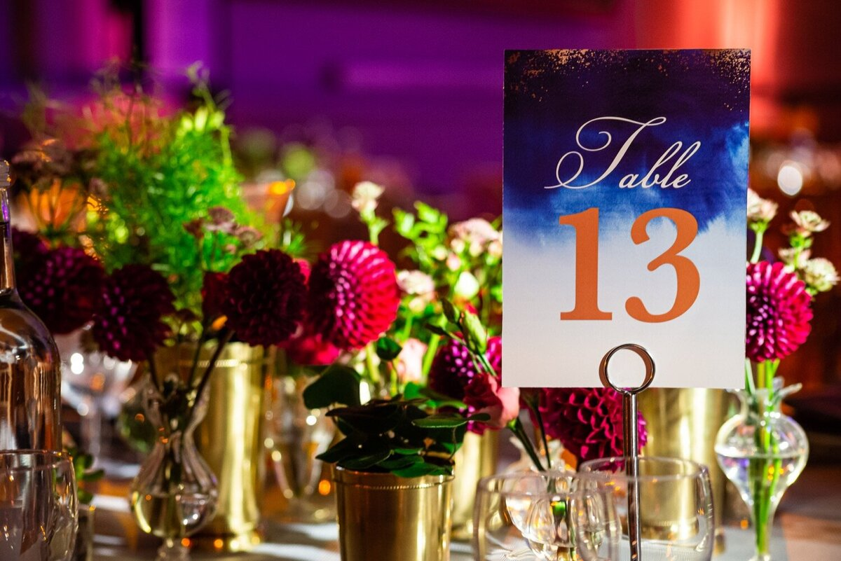 Vibrant table number