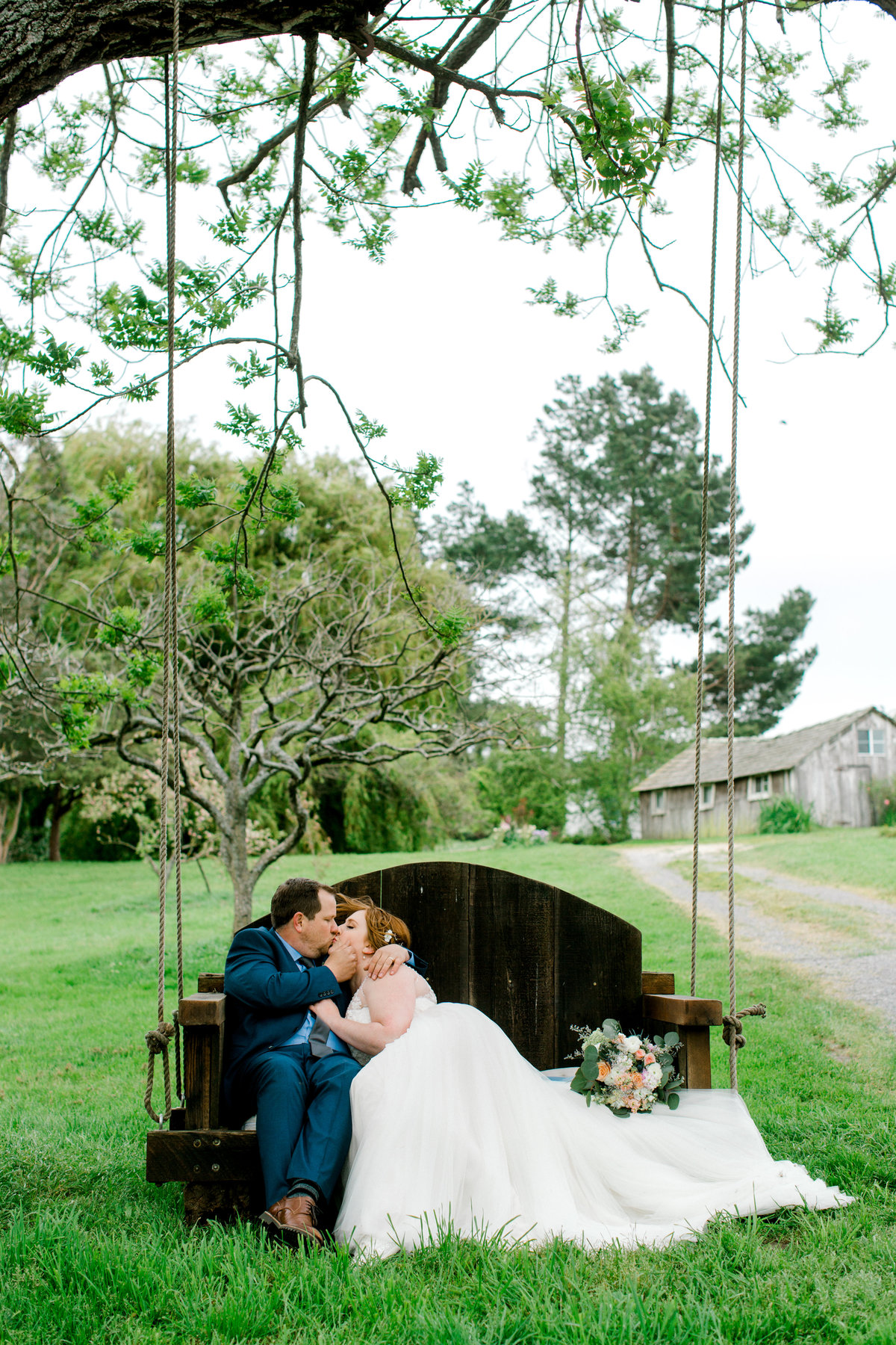 Bride and groom lounging on tree swing at Olympias Valley Estate in Petaluma California
