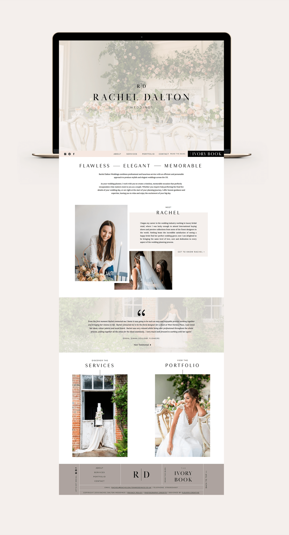 Rachel Dalton Weddings Website | Wedding Planner Website Design