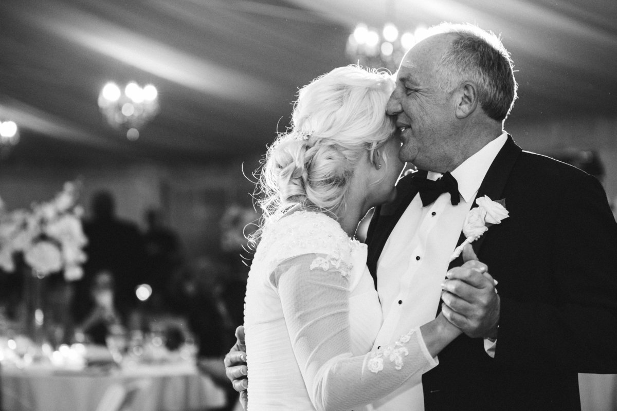 Father of bride dance black and white photo