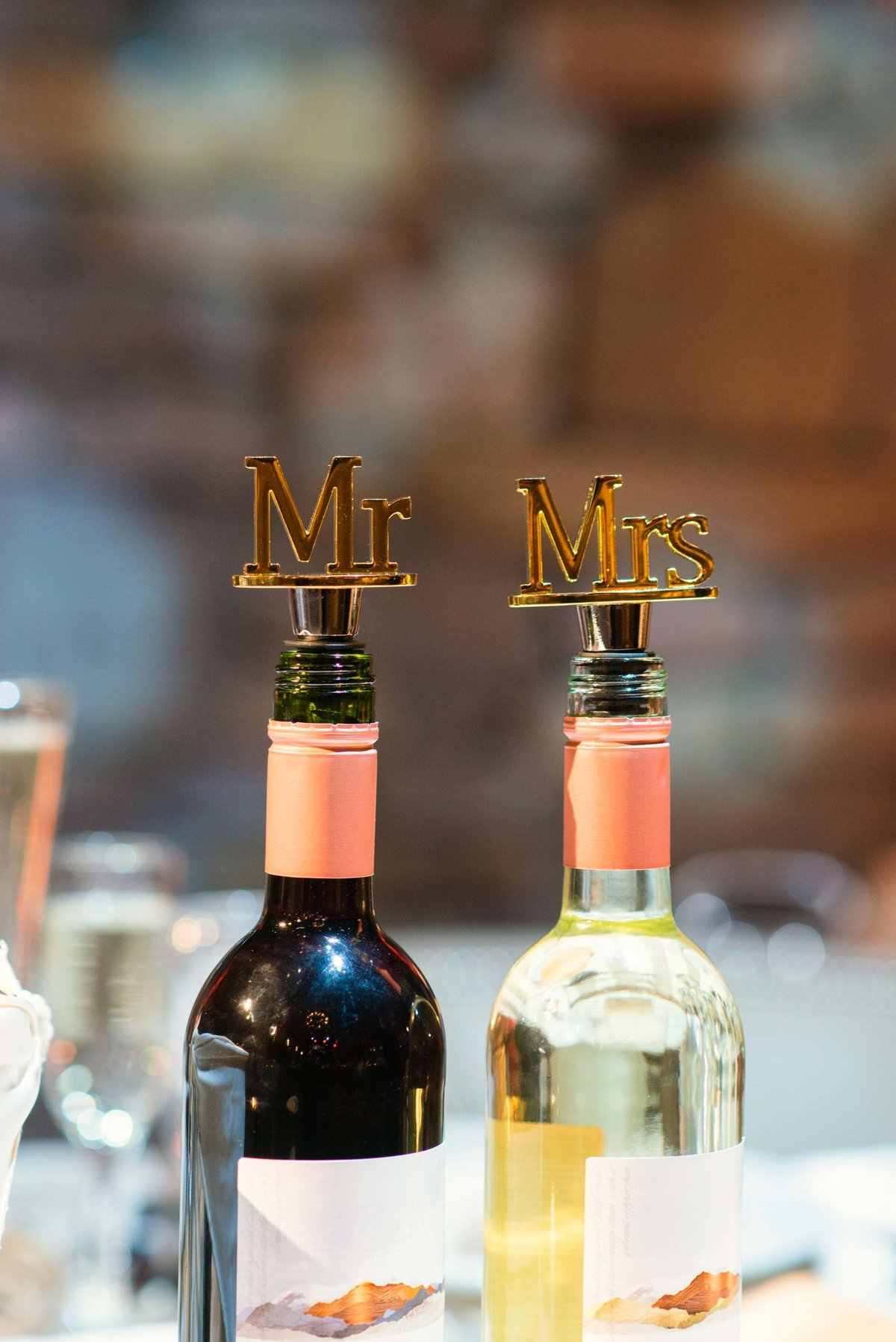 Mr and Mrs wine bottle stoppers at Fox Hollow