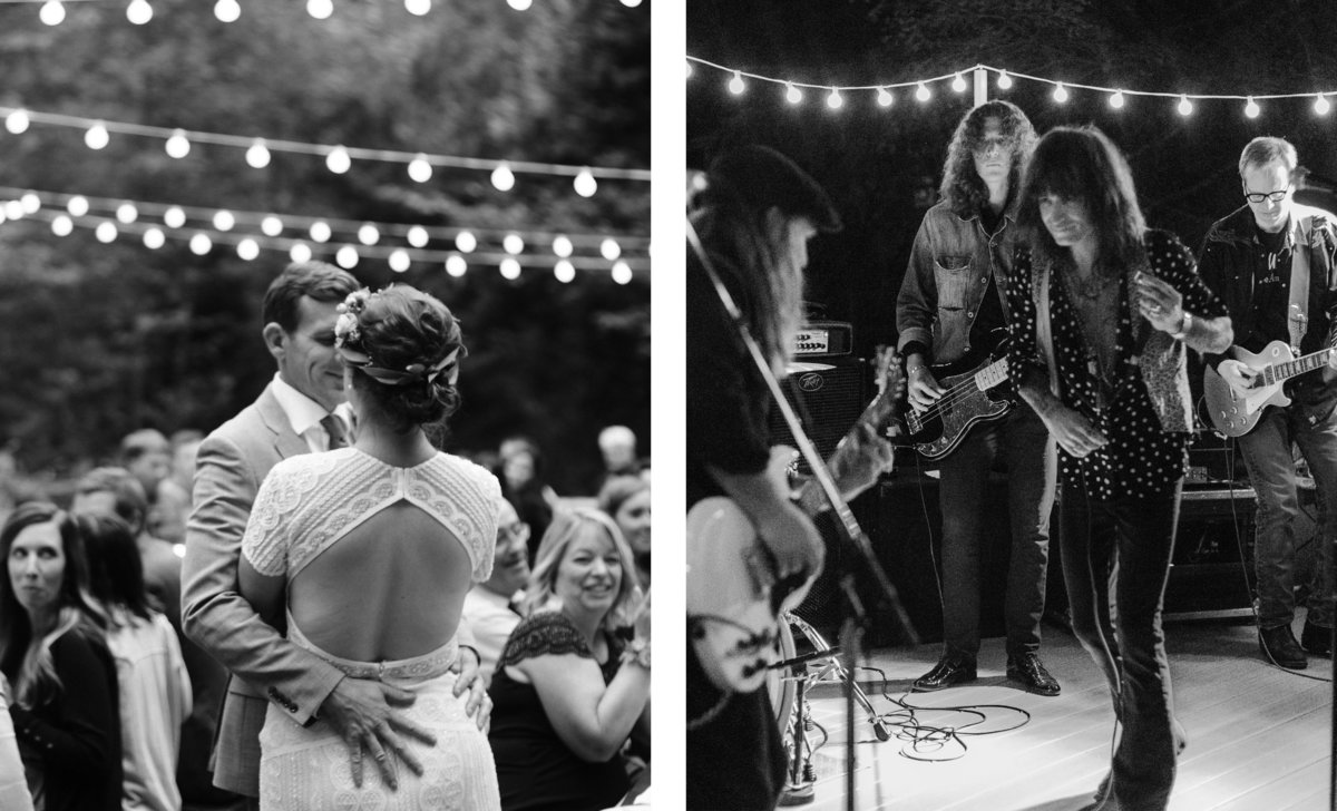 live band and couple kissing under cafe lights for wedding