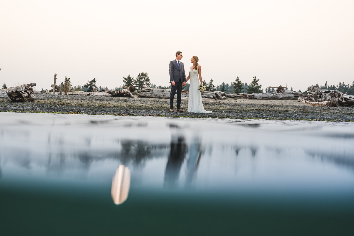 Couple with their reflection on the water