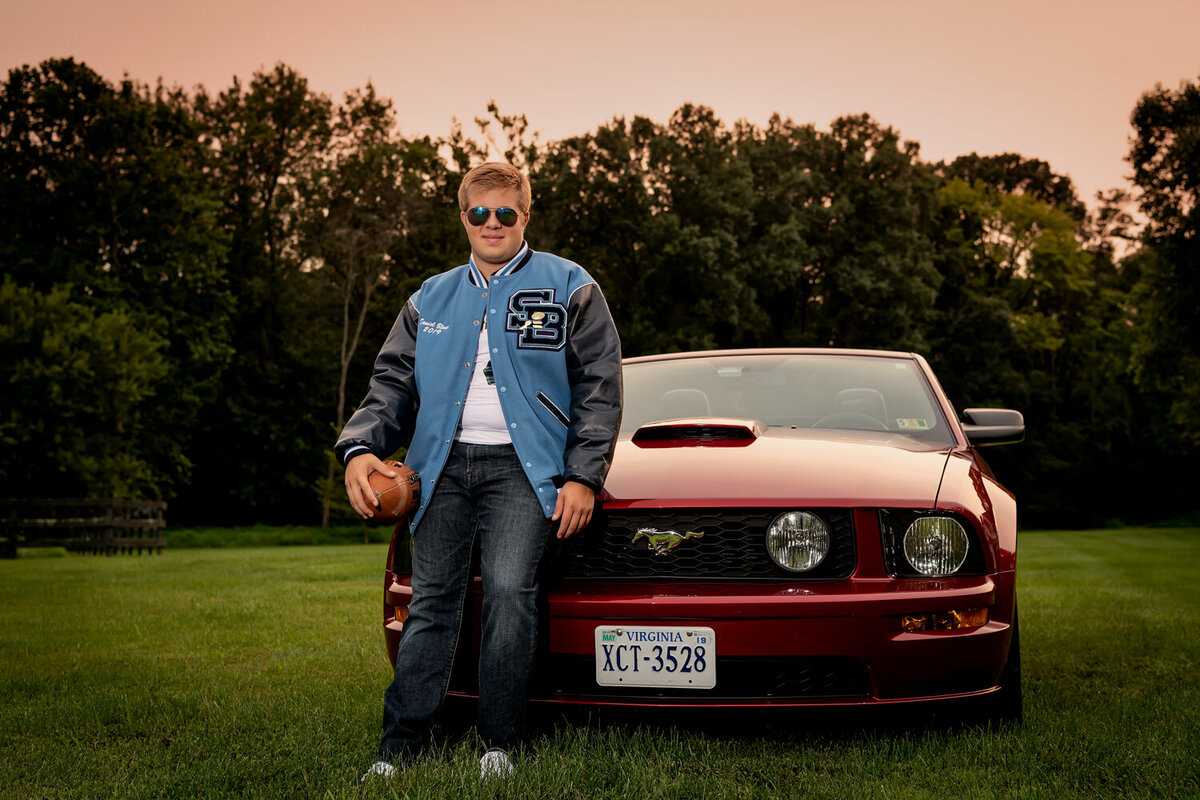 red mustang, senior boy, football senior photo, stone bridge high school