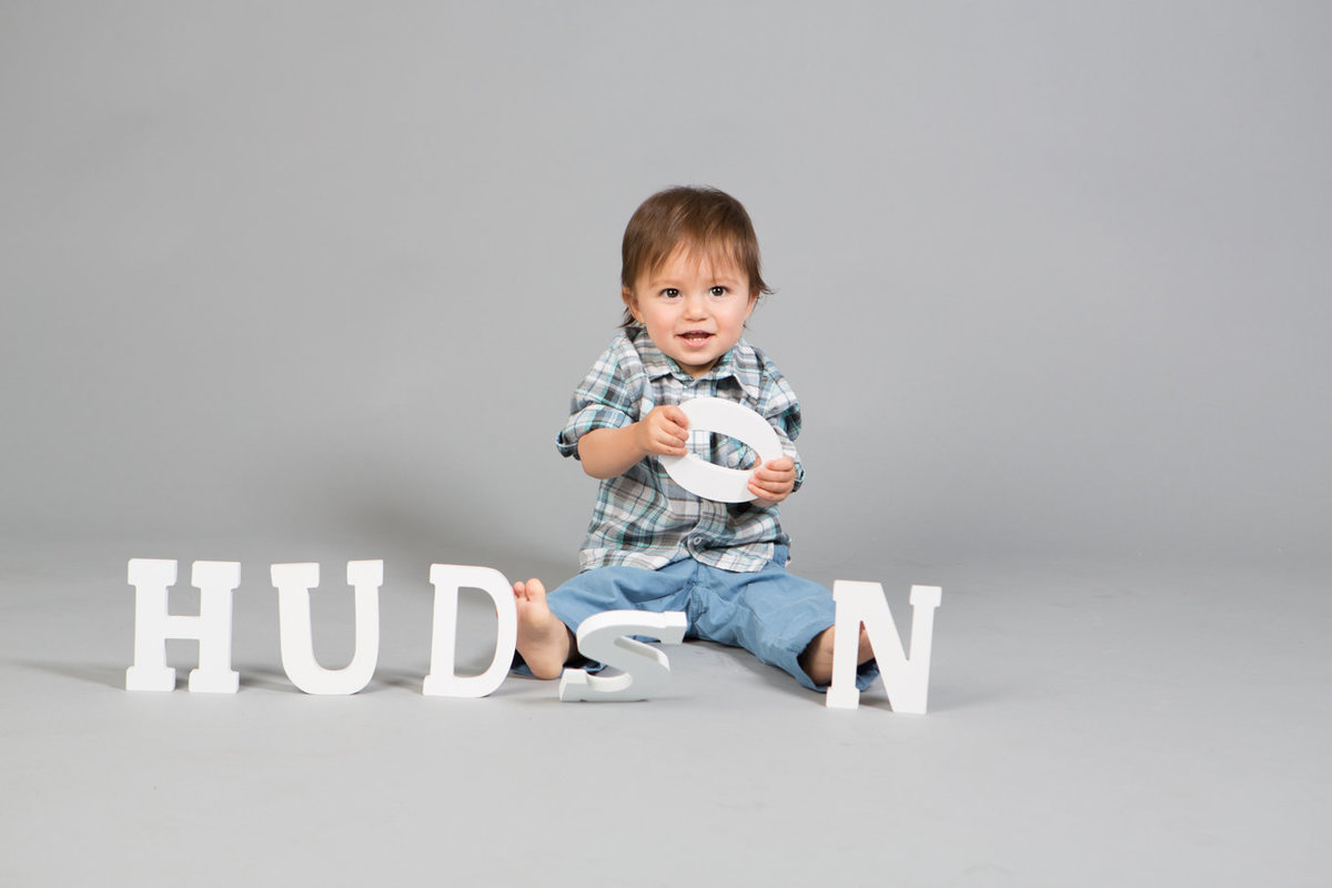 Baby Toddler in Studio Name with Letters