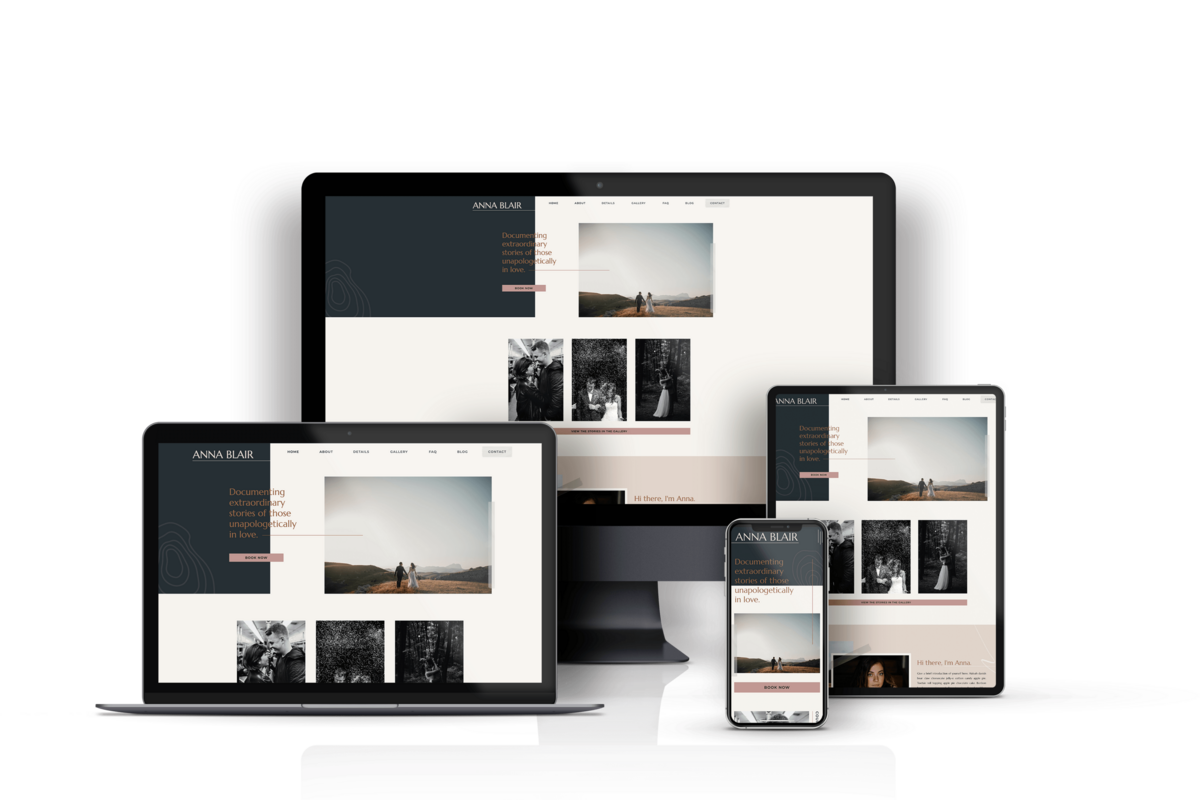 A website template mockup on a laptop, desktop, tablet, and phone.