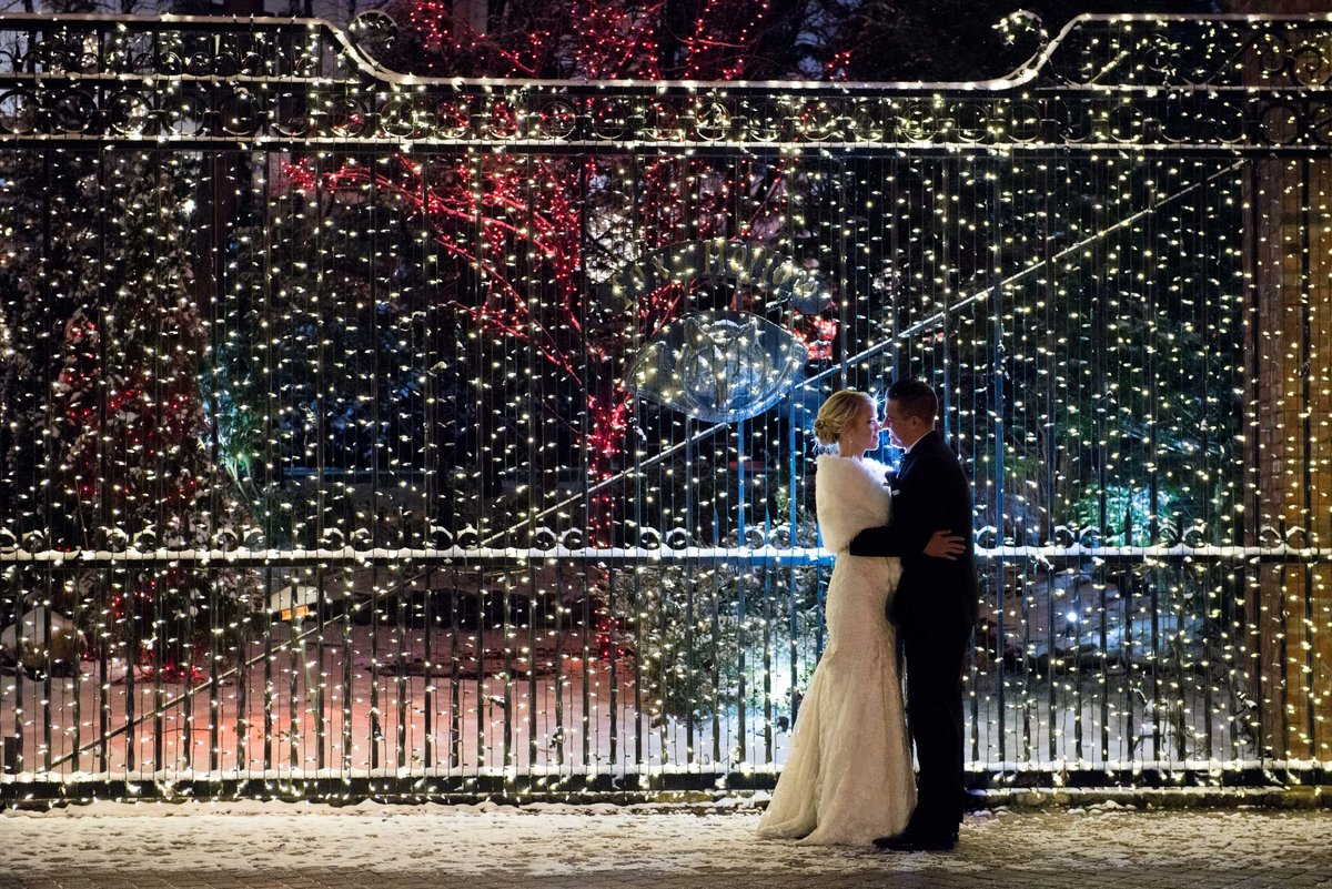 Night time wedding photos during winter at Fox Hollow