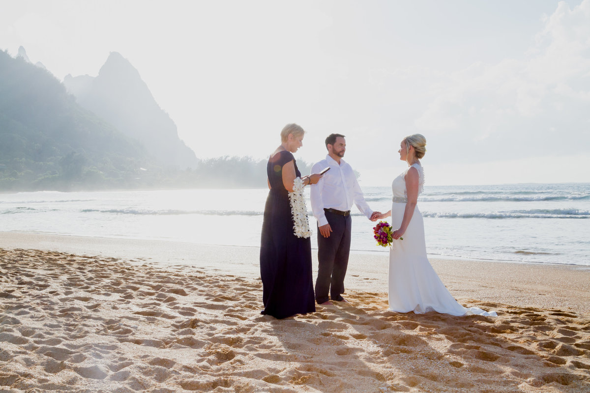 Tunnels beach wedding ceremony