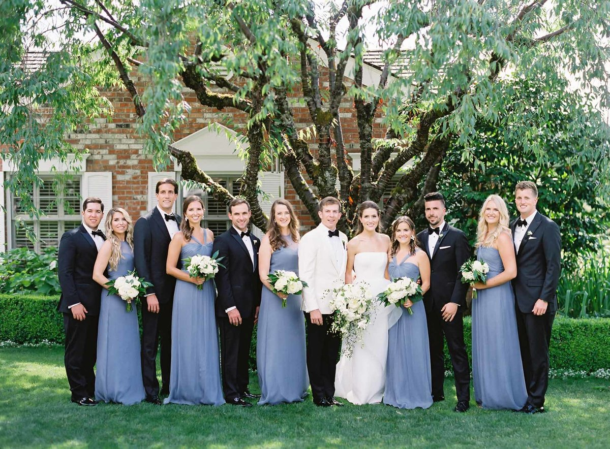 Kerry and Joe's bridal party looking lovely at their summer afternoon wedding.