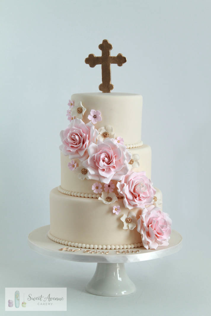 elegant baptism or communion cake with pink roses