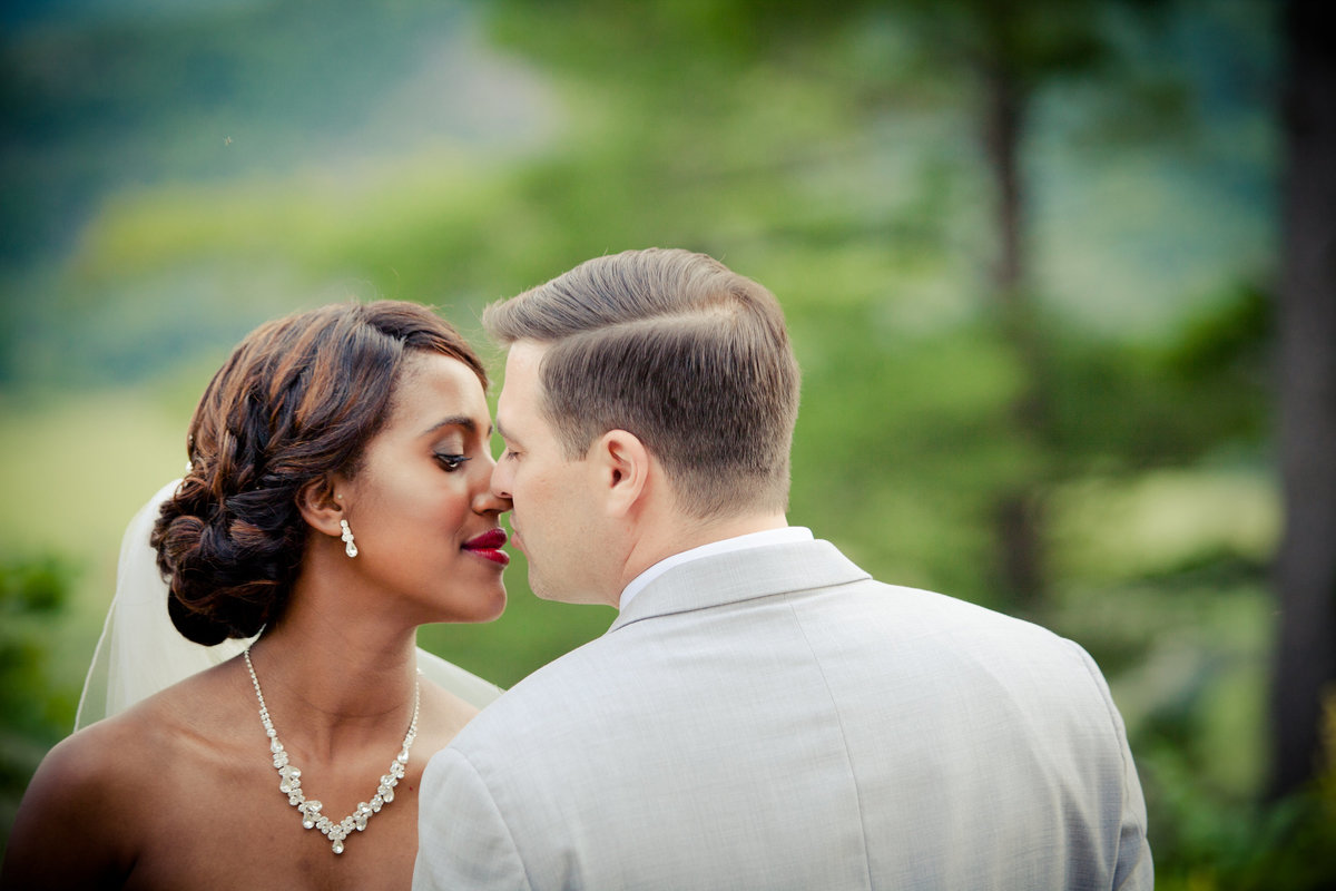 Bride and Groom Intimate Kiss