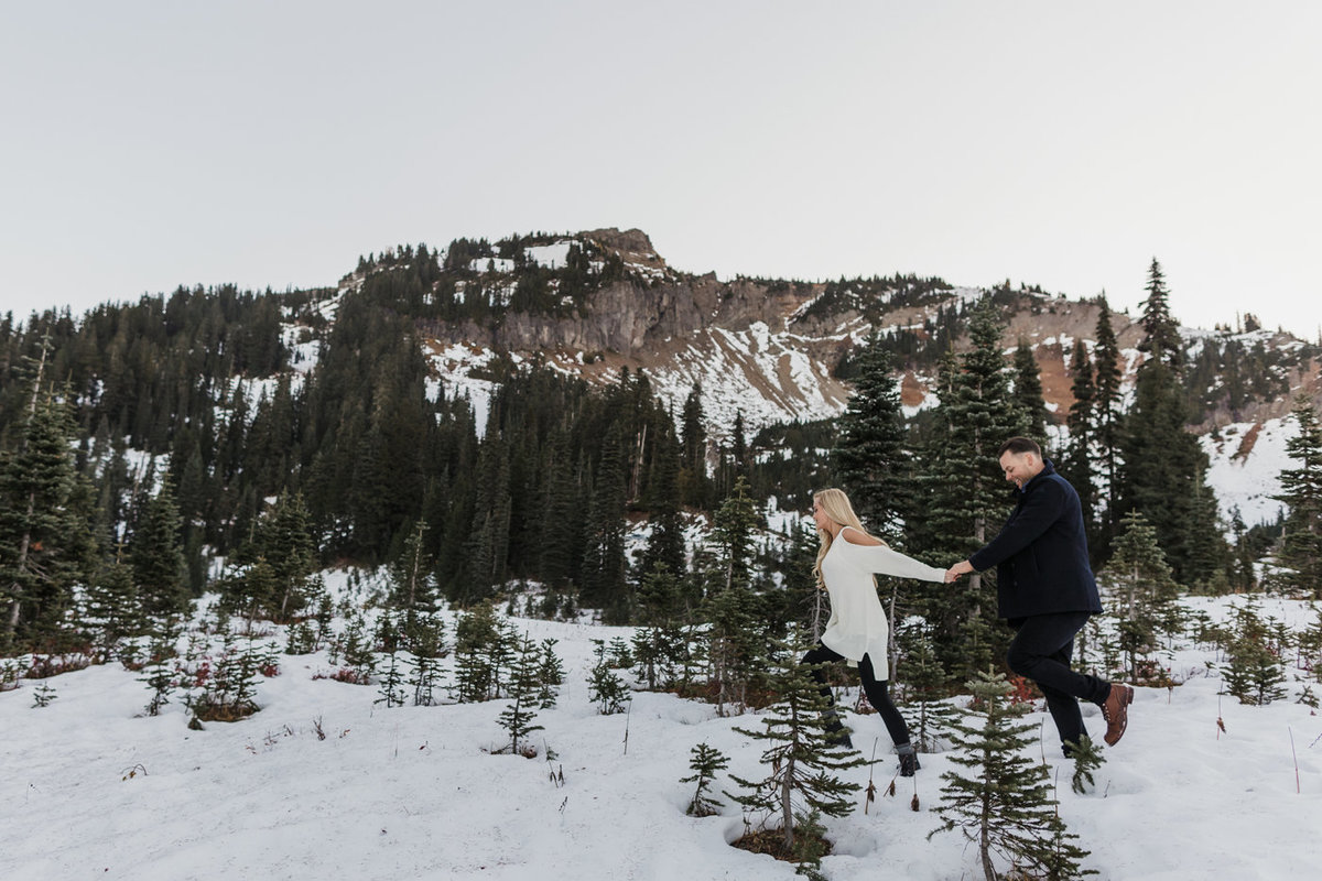Snowy Mount Rainier Engagement Photos-36
