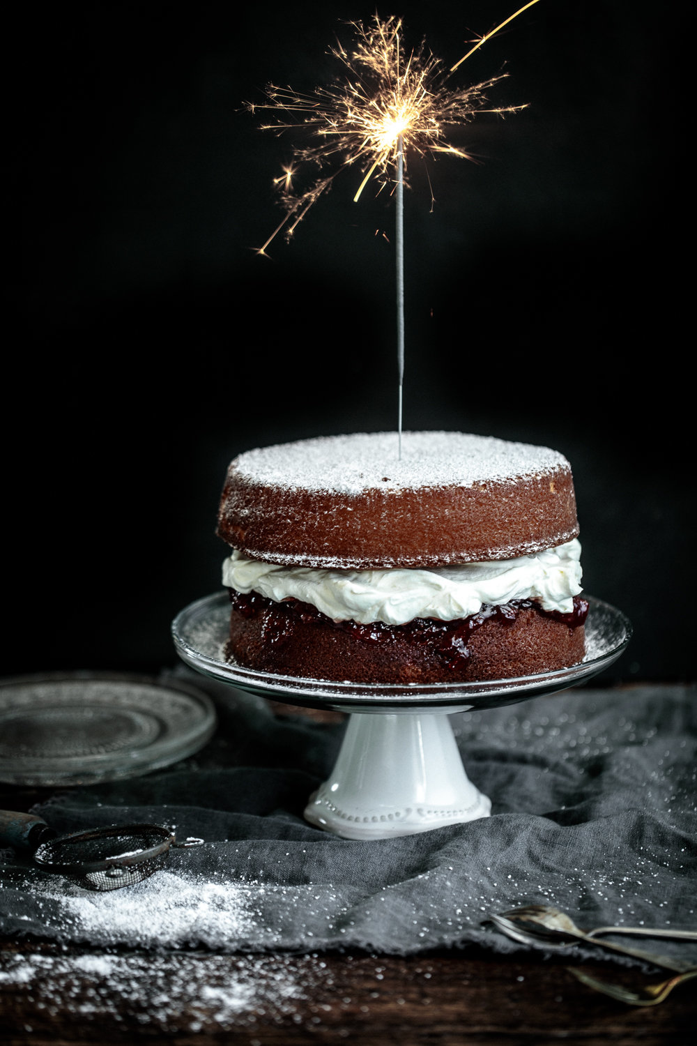 Vanilla Sponge Cake with Strawberry Black Pepper Jam and Mascarpone Cream | Anisa Sabet | The Macadames-111