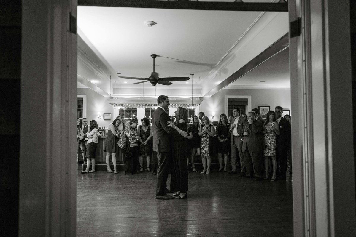 Groom and mother dancing at The Ram's Head Inn