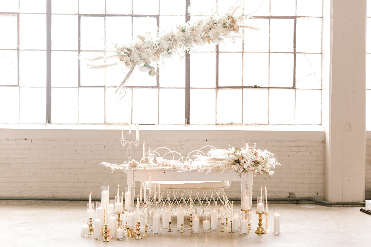 Sweetheart table designed by columbus wedding planner sirpilla soirees
