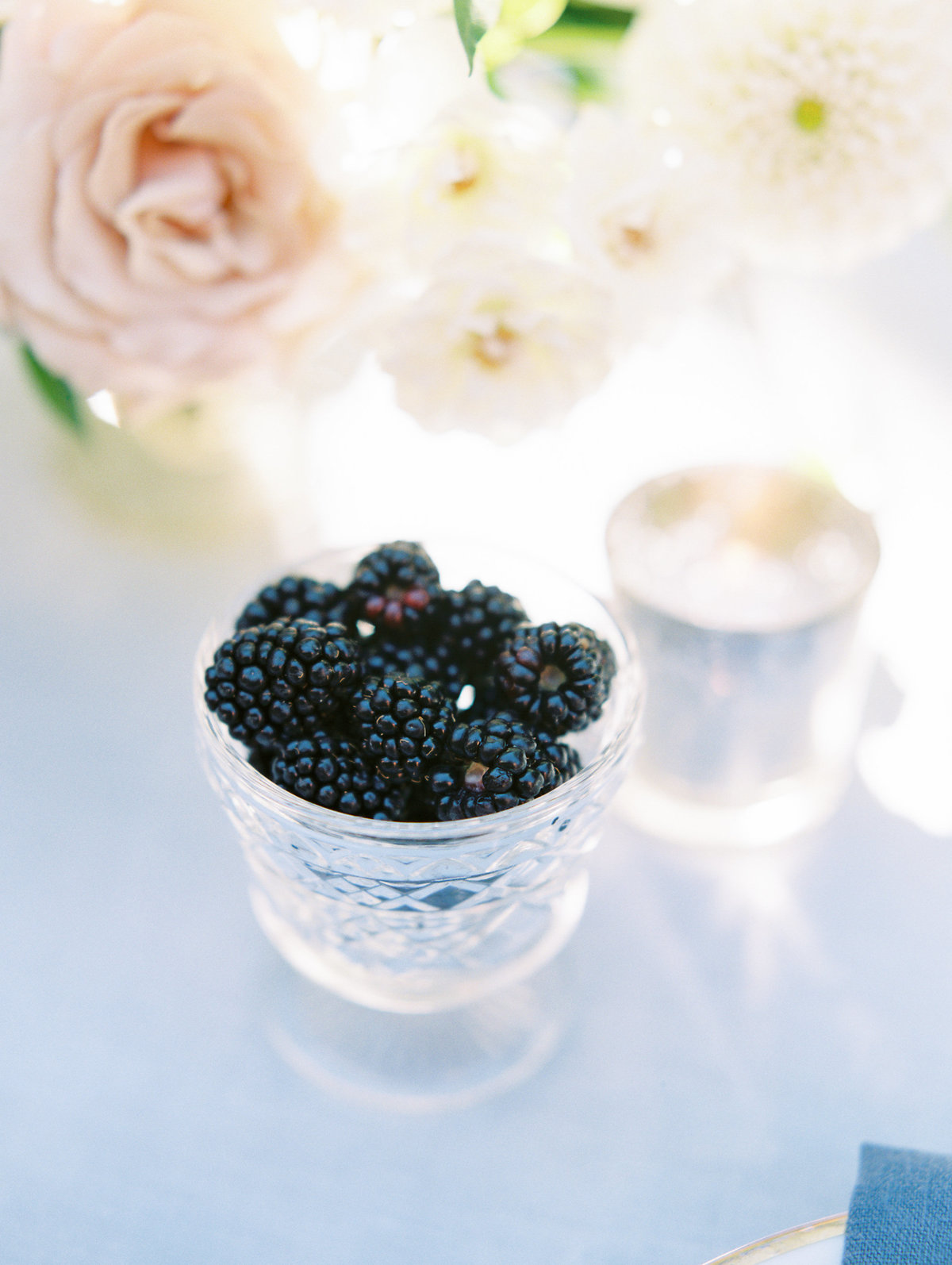blackberries on the wedding reception table