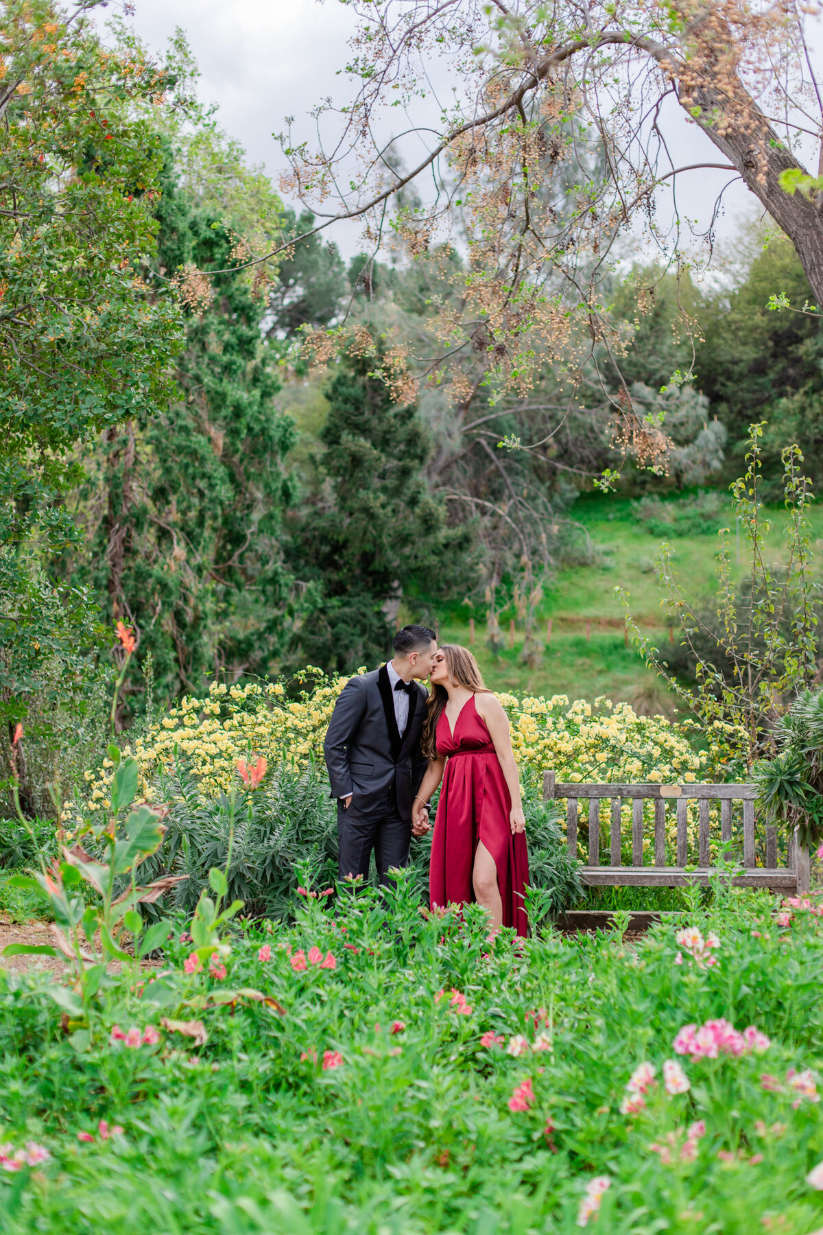 UC Riverside Botanical Gardens, Engagement Photography, Riverside Phototgrapher, Garden Engagement, Couple Photography, Red Dress-46