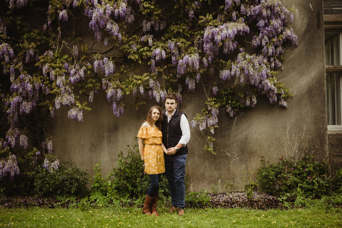 wisteria pre wedding engagement photo, floral, flowers, pretty engagement photos