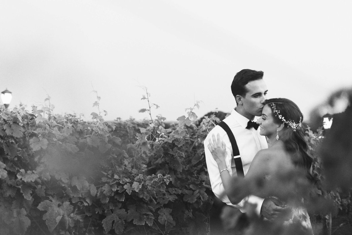 Groom kissing his bride at the vineyards Giorgio's Baiting Hollow