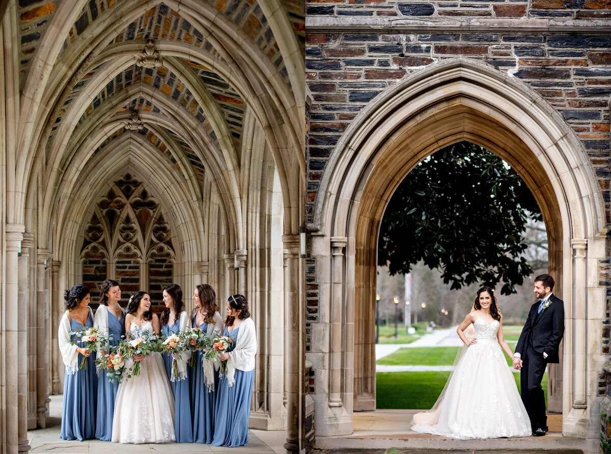 Bridal party and bride and groom portraits at Duke University Chapel