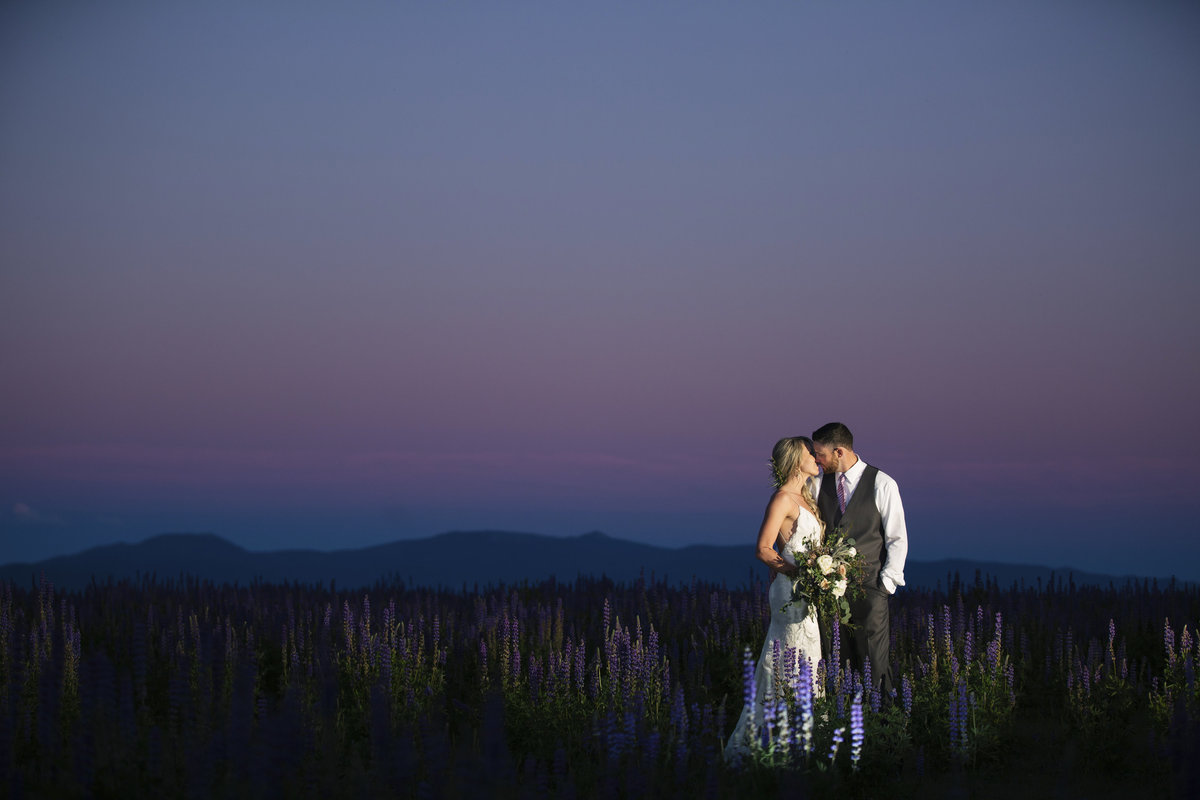 Lake Tahoe purple sunset wedding photos