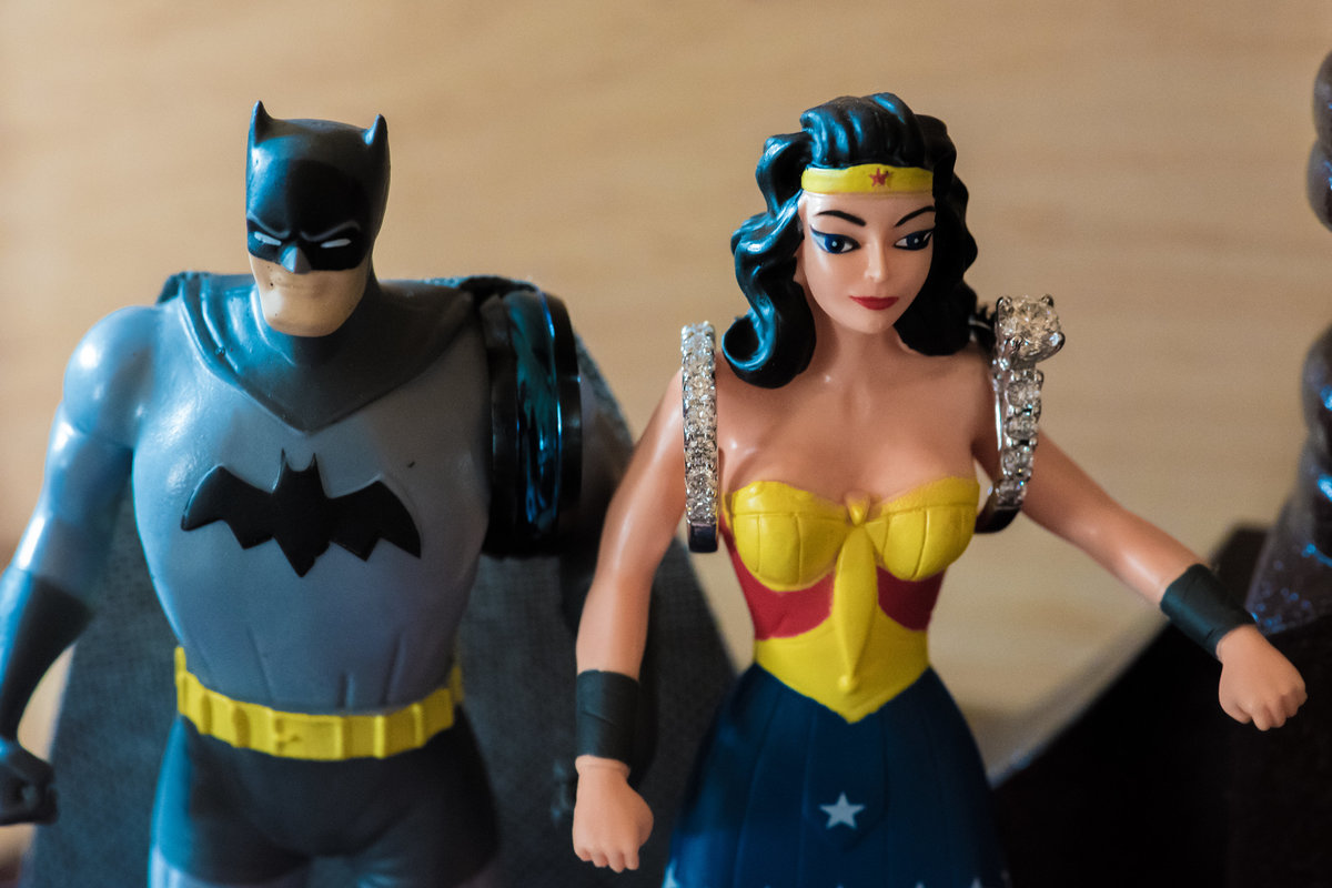 The Lodge on Echo Lake, Warrensburg, NY, Batman and WonderWoman figurines, bride and groom wedding rings