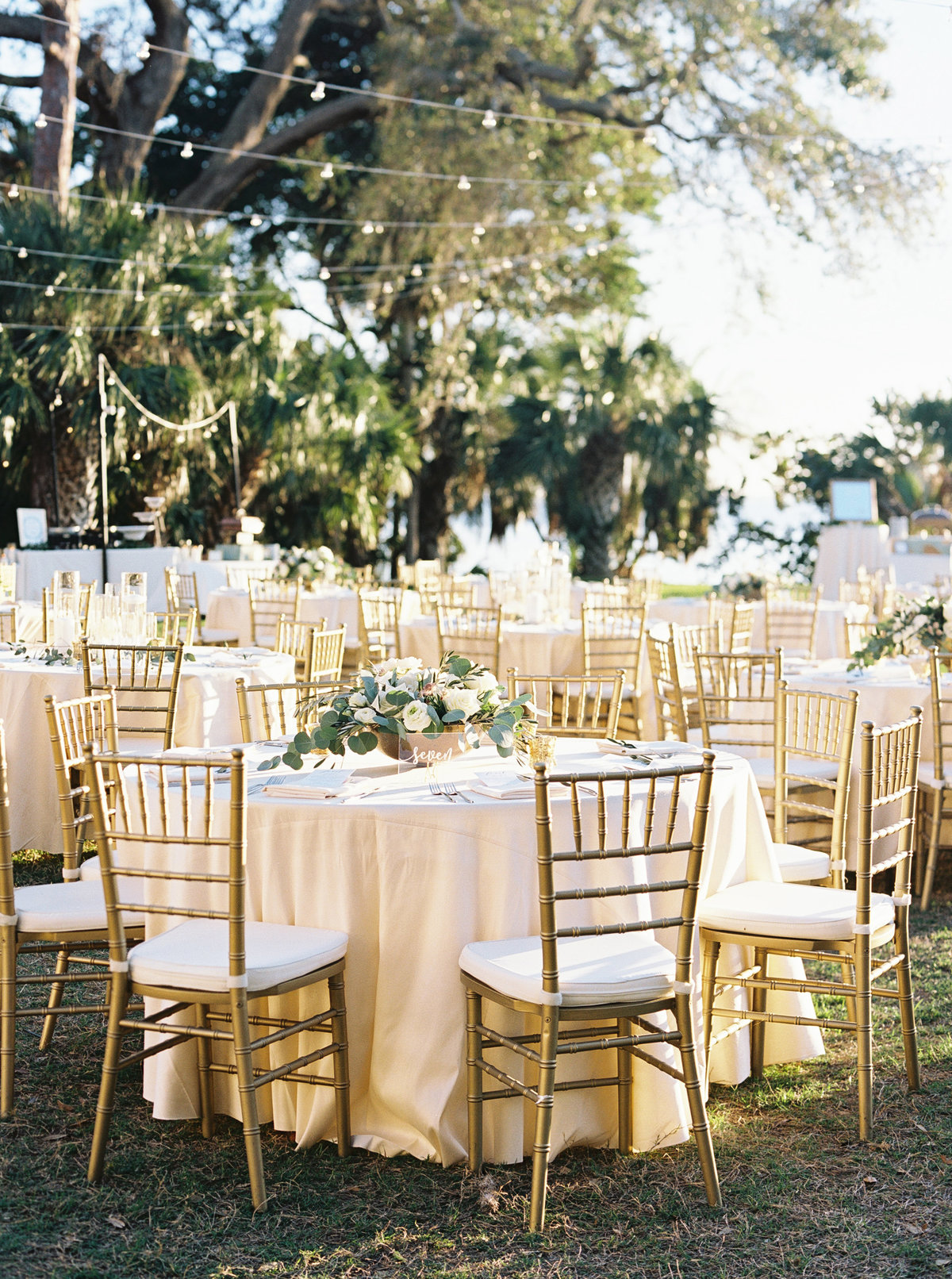 Garden lawn wedding with gold chairs and elegant decor