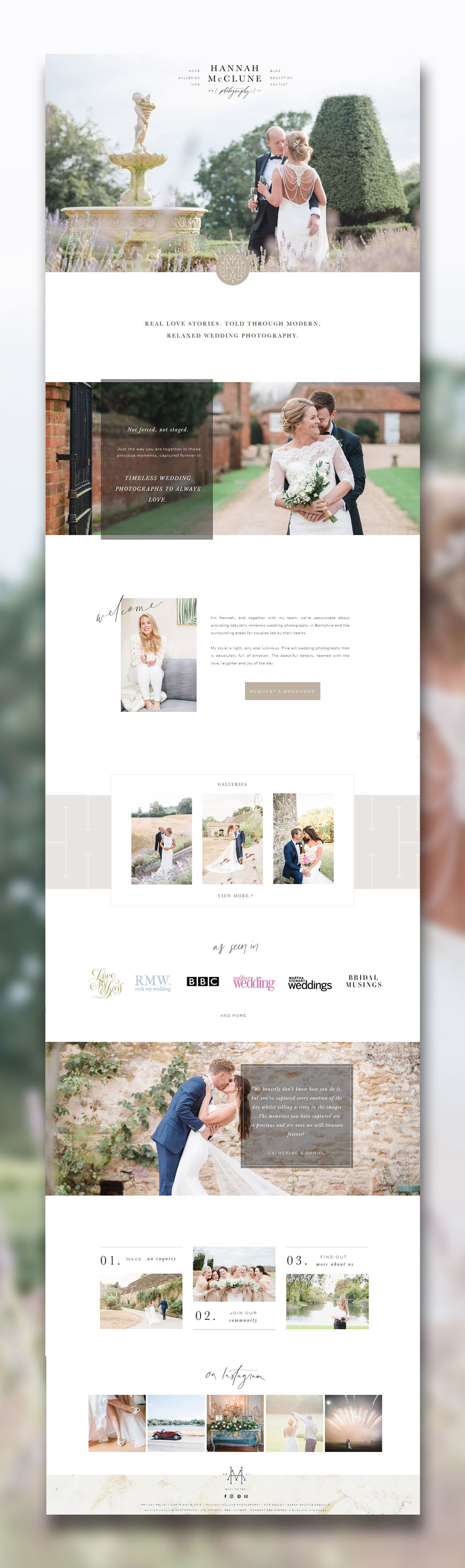 Feminine website for fine art wedding photographer with neutral colour palette. Wedding photographer website, wedding business web design, feminine web design