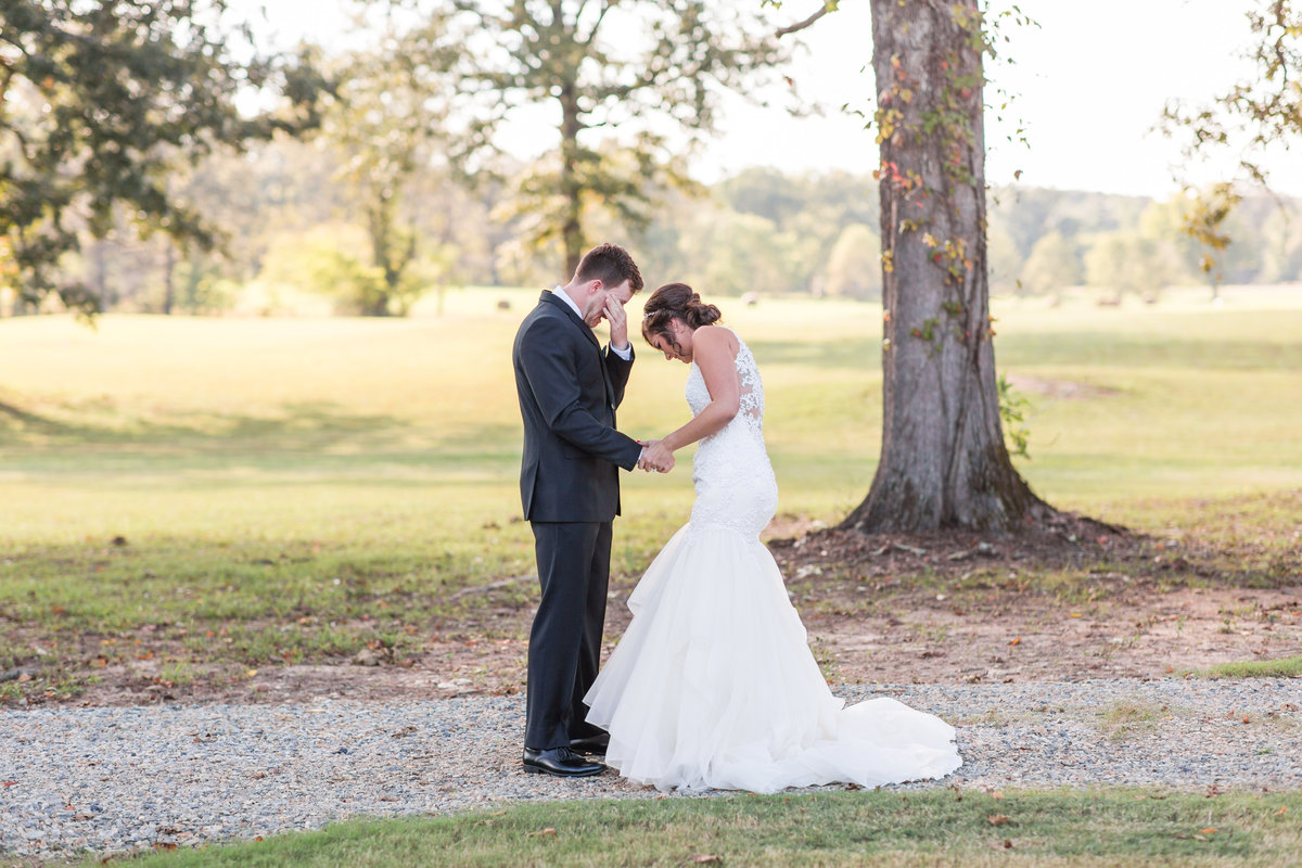Bride and Groom having tears of joy at their First Look during their Grandeur House Wedding in Little Rock, AR