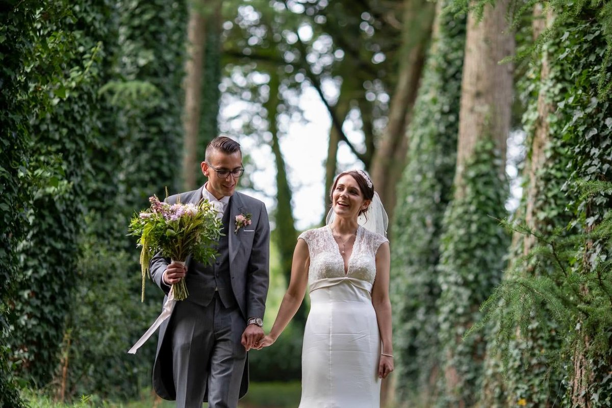 Walk among the lime trees at Coombe Trenchard Wedding Devon