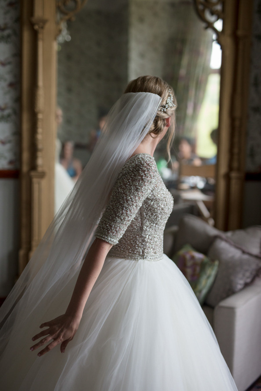 Huntsham Court Bride getting ready