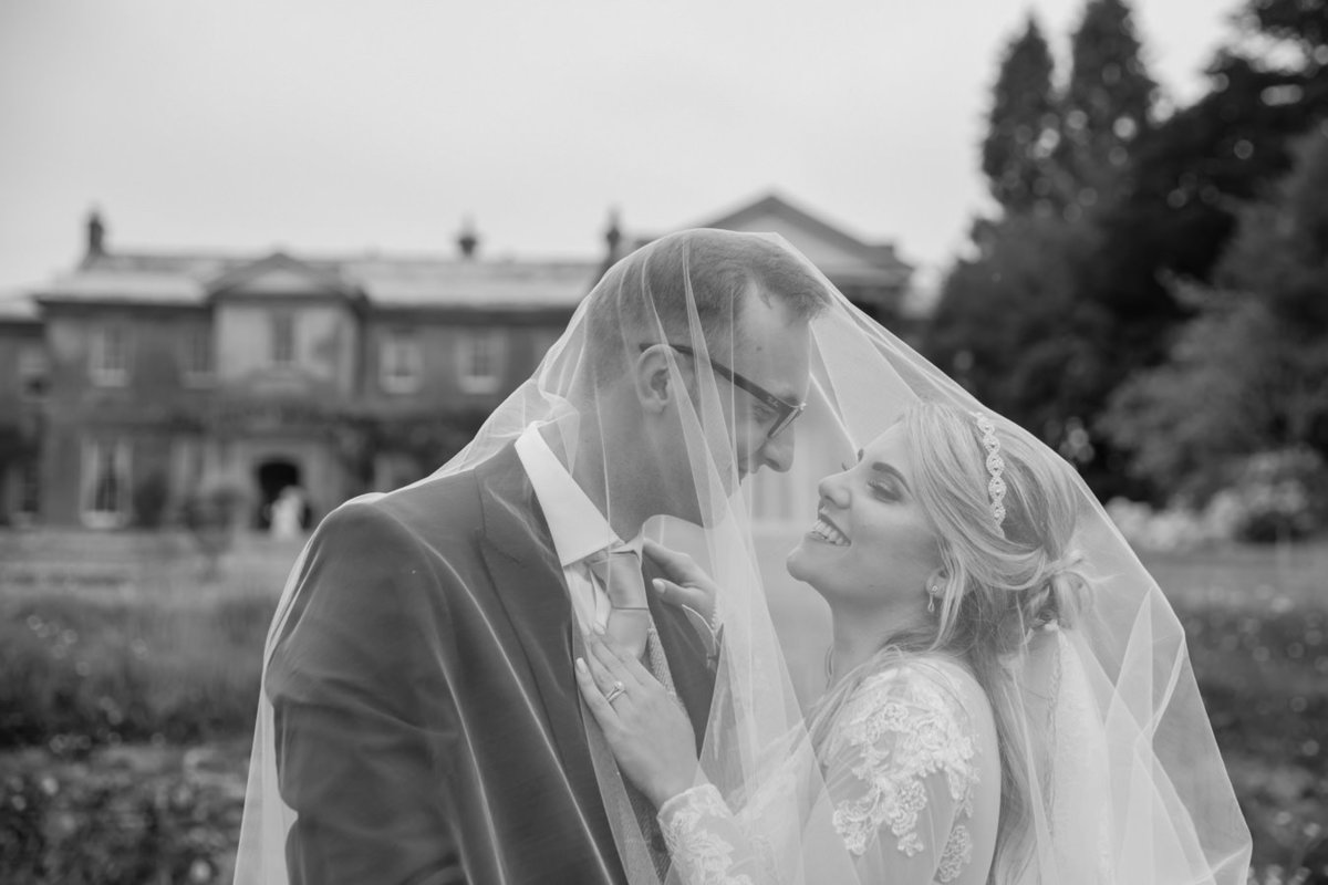 Bride and Groom under veil at Buckland House Wedding