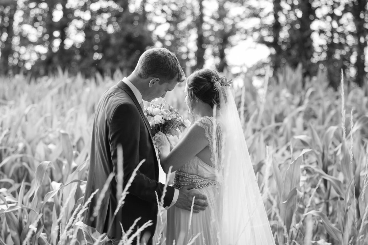 Black and White wedding photo at rural Devon Wedding Venue Upton Barn