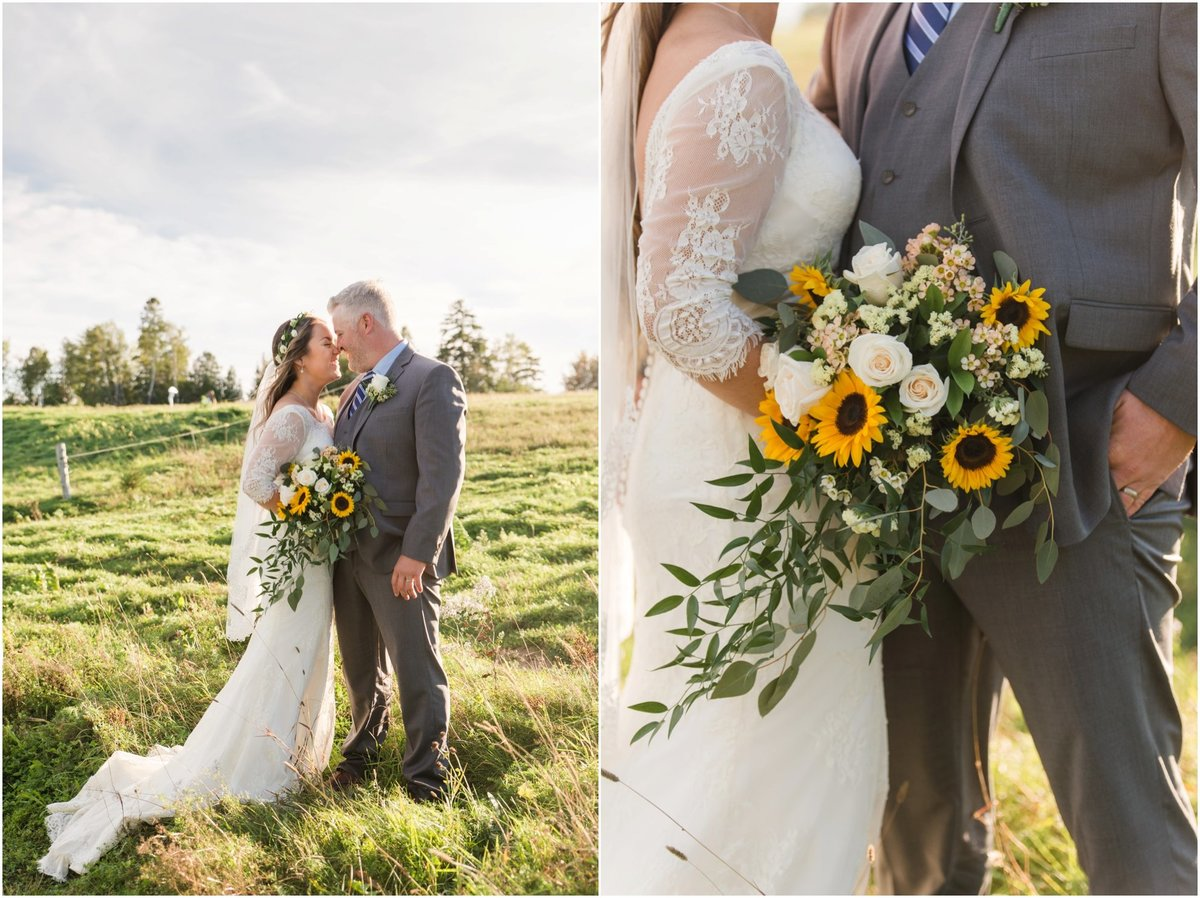 Bride and groom touching noses in field, sunflower bouquet